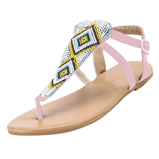 a7e52cfee GONKOMA Women s Flats Sandals Ladies Summer String Bead Casual Flats Beach  Shoes Buckle Strap Sandals Pink