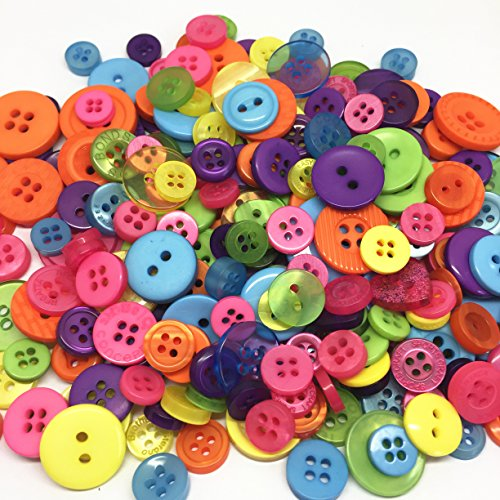 Bright Buttons (Assorted Mixed Resin Buttons Arts Crafts Card Making Scrapbooking Sewing Button 9mm-20mm Pack of 100g (Bright))
