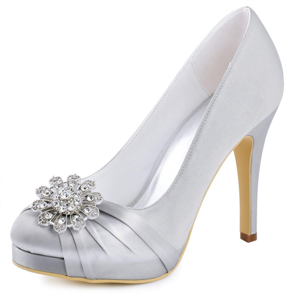 Elegantpark EP2015-PF Mujeres Bombas Punta Cerrada Zapatos Plataforma Zapatos Tacón Alto Rhinestones Satén Wedding Party Zapatos Novia 41 EU|Nuevo Plateado