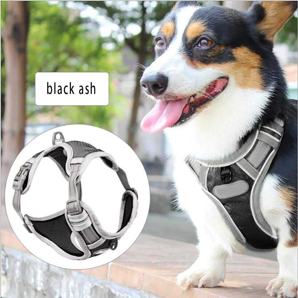 Black ash MediumNo Pull Harness for Dogs,Dog HarnessexplosionProof Punch Adjustable Reflective Cushion Nylon Easy to Control Vest Shock Absorption Breathable Multicolor Size