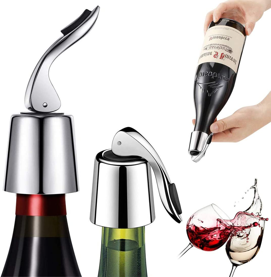 ifory 2 Pack Wine Bottle Stopper, Reusable Stainless Steel Wine Bottle Plug with Silicone Bottle Sealer, Vacuum Bottle Stopper to Keep Wine Fresh