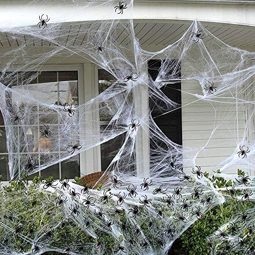 FLY2SKY 100pcs Halloween Spiders 800sqft Spider Webs Halloween Decorations Spiders Web Decoration Indoor Outdoor Décor Best Halloween Party Supplies