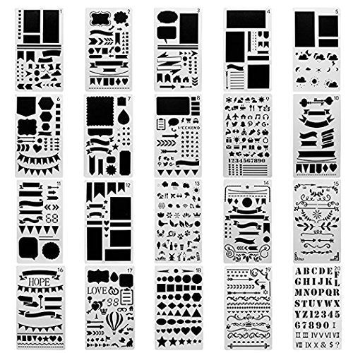 Meetory 20 Pcs Plastic Journal Stencil,Banners,Dividers & Icons Painting Drawing,for Notebook/Diary/Scrapbook DIY Projects -