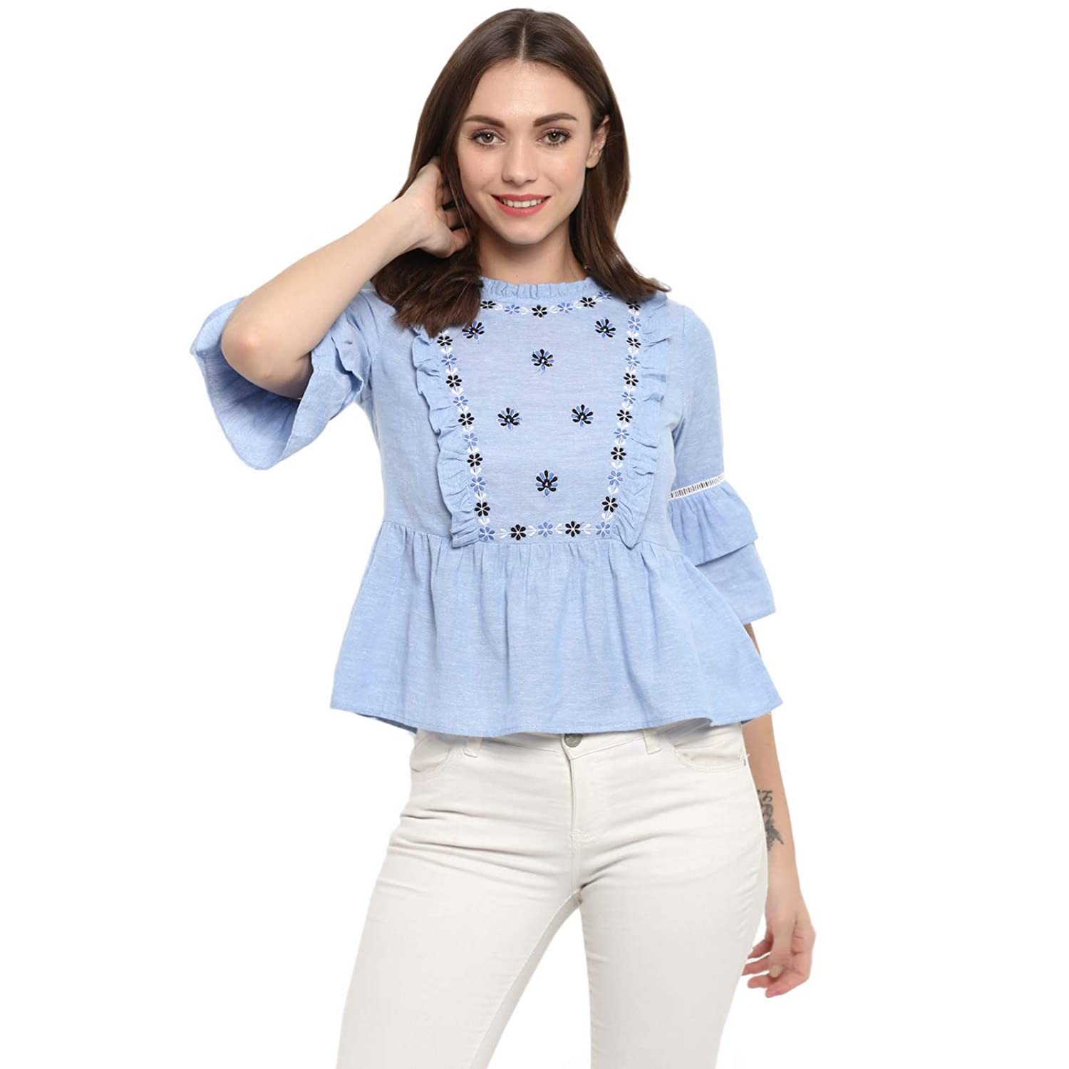 950fae7684e Spotstyl Blue Floral Cotton Embroidered Casual Tops for Women Western  Casual Latest Summer 2019 Women Tops Western Tops for Women Styish Fancy  Women Apparel ...