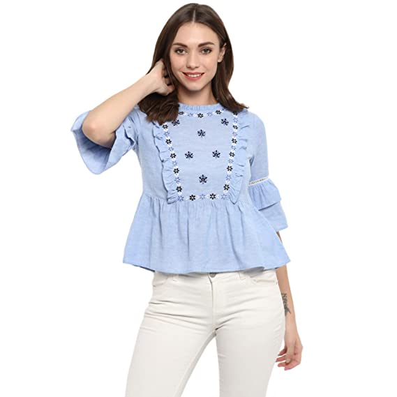 136f8075cd2 Spotstyl Blue Floral Cotton Embroidered Casual Tops for Women Western  Casual Latest Summer 2019 Women Tops Western Tops for Women Styish Fancy  Women Apparel ...