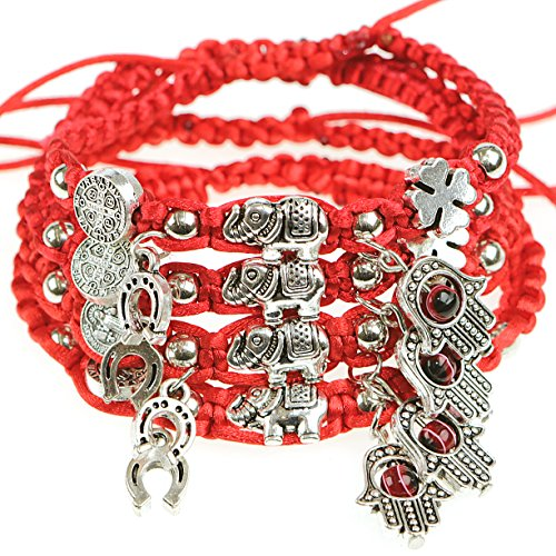 RufnTop Lucky Red String and Red Evil Eye Hamsa Hand,4 Leaf Clober, Saint Benedict, Elephant Bracelet(Lucky Evil Eye01 Pack of 4 PCS)