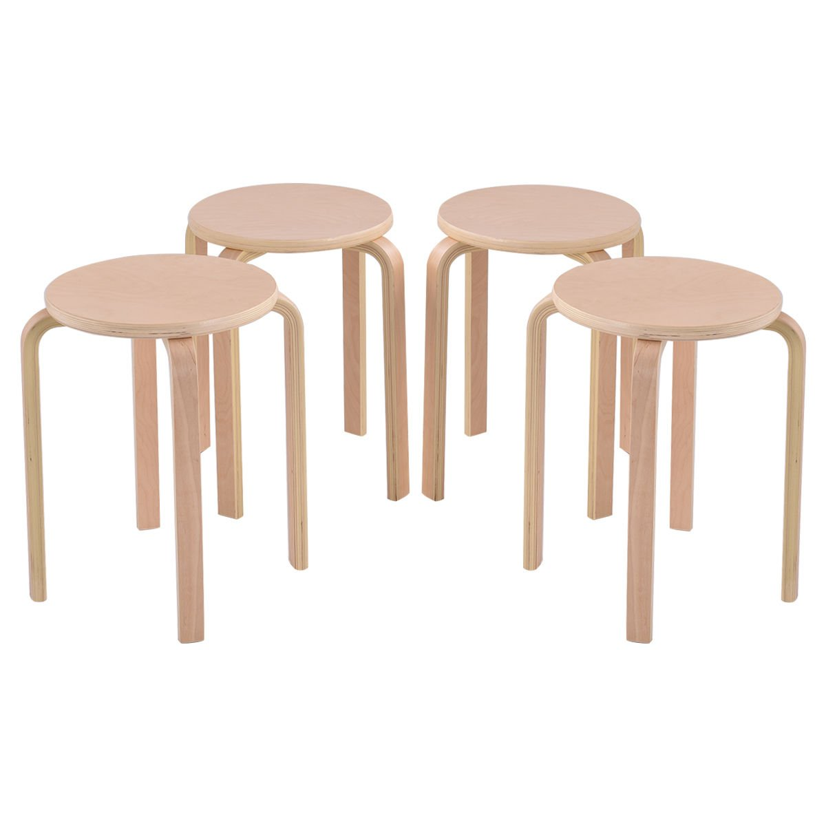 Set of 4 17-inch Bentwood Stools Stacking Home Room Furniture Decor New