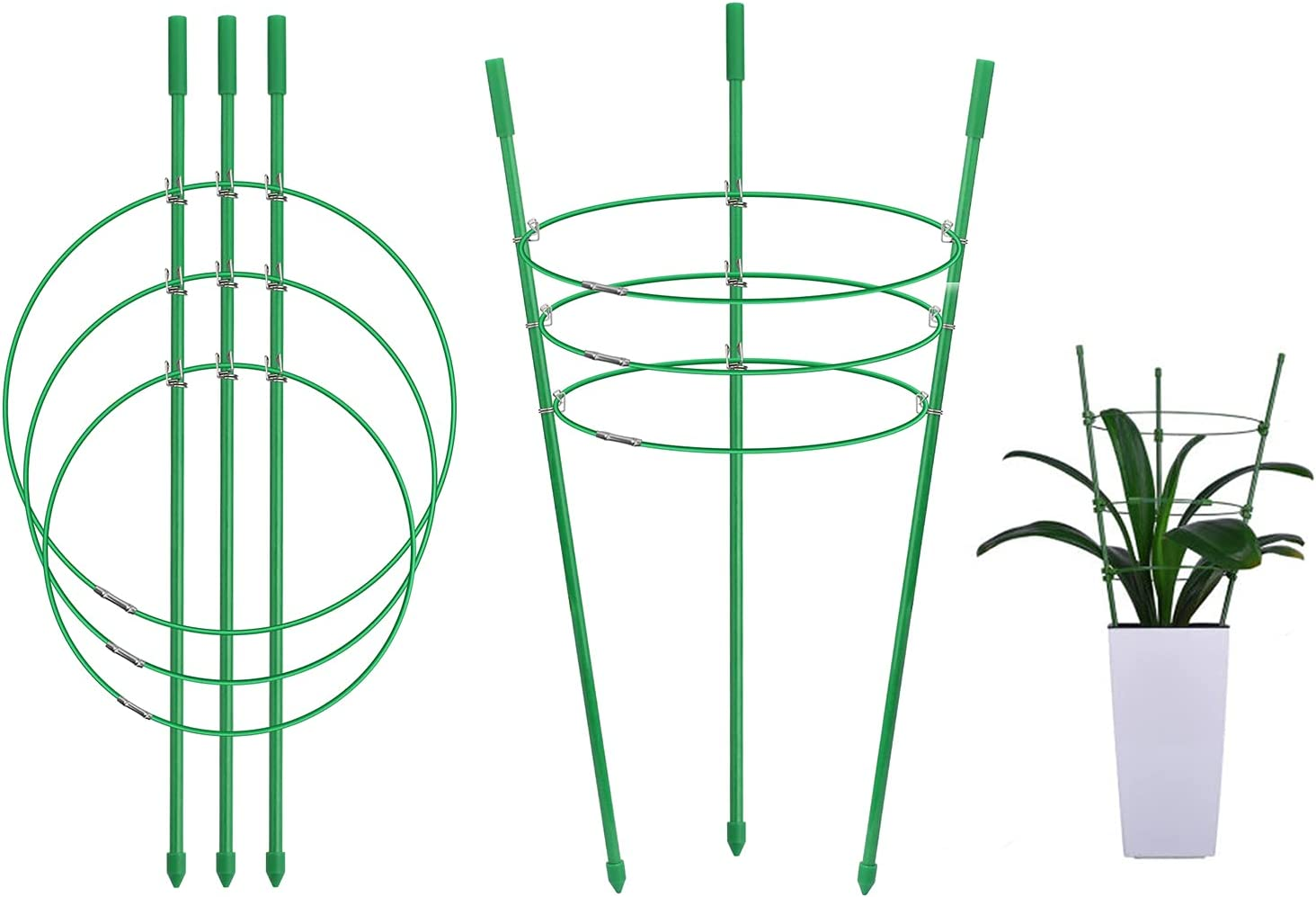 Foldable Small Flower Plant Support Cage 45CM/17INCH Plant Cage Trellises Stake, Tomato Cage Plant Growth Cage Support Frame Climbing Plants, Adjustable Rings for Garden Lawn Care 2 Pack(17'')