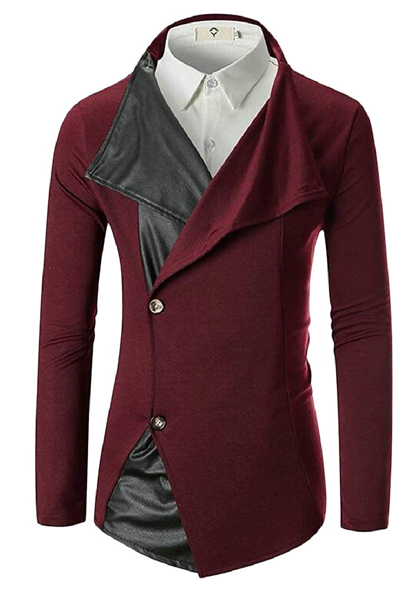 ONTBYB Mens Faux Leather Patchwork Button Slim Fit Casual Blazer Jacket