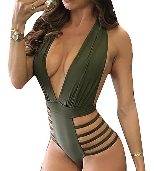 e83e5c6fc2 WSPLYSPJY Women s Sexy Deep V Neck Bodysuit Leotard Jumpsuit Romper Army  Green XXS