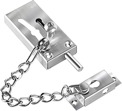 Stainless Steel Security Chain Guard with Anti-Theft Chain Heavy Duty Reinforced Safety Door Latch Lock for Home Bedroom Hotel Office Oligi Door Chain Lock
