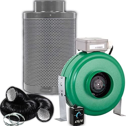 Active Air 4 inch 165 CFM Inline Duct Fan, Growers House 4 Carbon Filter, and 1 Pre-Filter FREE 25 Feet Lightproof Ducting and Active Air Controller Combo for Quiet Grow Tent Ventilation