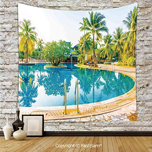 Tapestry Wall Hanging Umbrella and Chair Around The Round Outdoor Pool Tourist Space Famous Spots Concept Tapestries Dorm Living Room Bedroom(W39xL59) ()