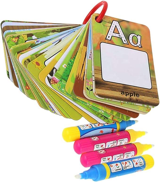 NUOBESTY Tarjetas de alfabeto no tóxicas agua coloración