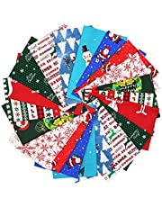 20pcs Christmas Cotton Fabric Bundles, 7.8x9.8inch Squares Quilting Fabric Patchwork Precut Fabric Scraps for DIY Quilting for Xmas Sewing Crafting, 10 patterns