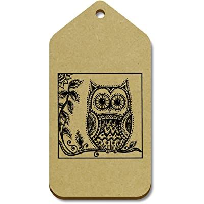 10 x Large 'Owl On Tree Branch' Wooden Gift / Luggage Tags (TG00057198)
