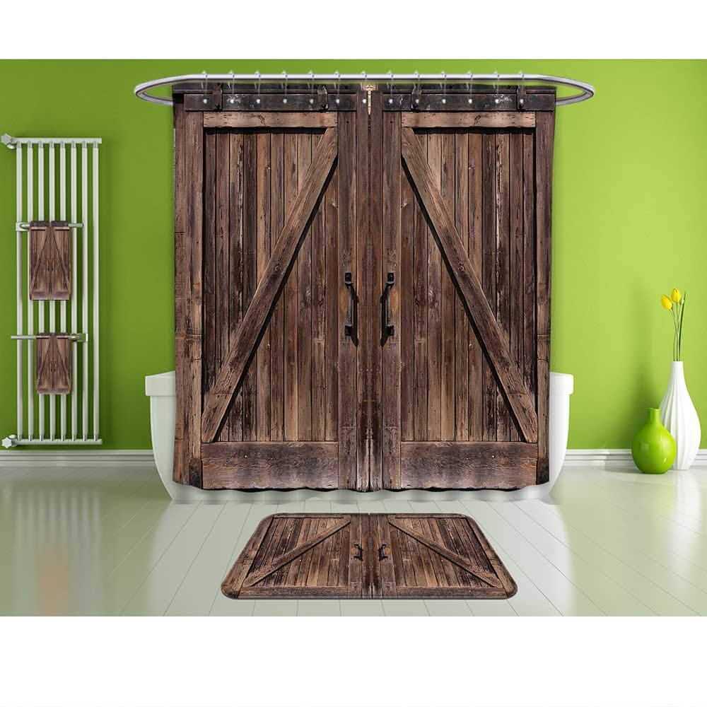 Wooden Shower Curtain Brown Farmhouse Style Print for Bathroom