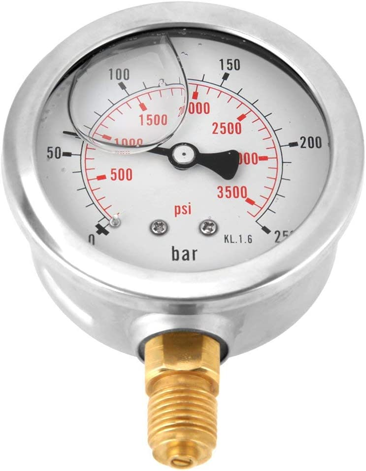 CHUNSHENN 0-250Bar 0-3750PSI G1//4 Thread 63mm Metal Dial Hydraulic Water Pressure Gauge Meter 2.48inch Hydraulic Equipment Gauges