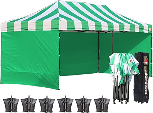 ABCCANOPY Canopy Tent 10×20 Pop Up Canopy with Side Wall Commercial Tent Easy Instant Shelter with Removable Sun Wall and Roller Bag Bonus Weight Bags, Kelly Green