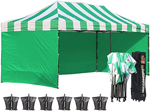 ABCCANOPY Canopy Tent 10x20 Pop Up Canopy with Side Wall Commercial Tent Easy Instant Shelter with Removable Sun Wall and Roller Bag Bonus Weight Bags, Kelly Green