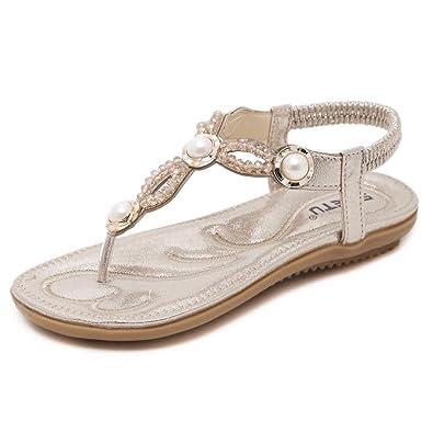 Damen Sommer Sandalen Strass Böhmen Strand Flache T-Strap Schuhe, Golden, 36