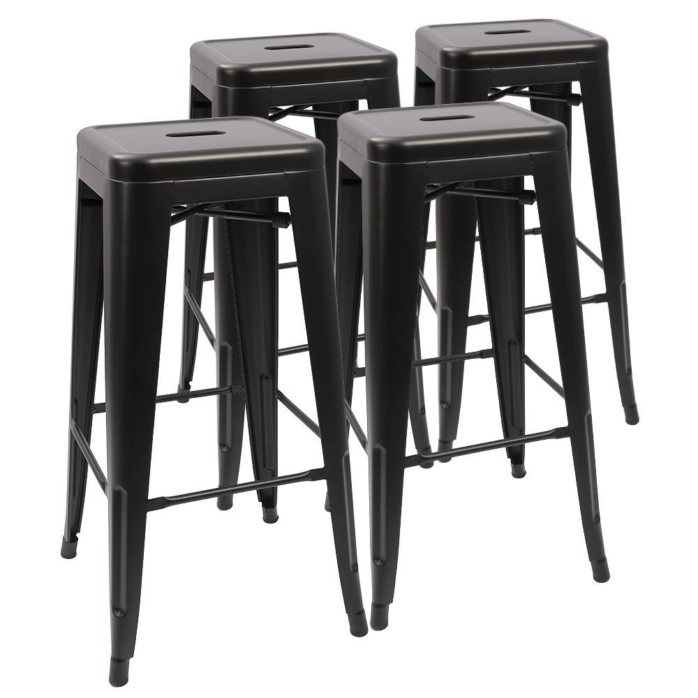 Devoko Metal Bar Stool 30'' Stackable Backless Bar Stools, Indoor-Outdoor Counter Height Barstool with Square Seat Set of 4 (Black)
