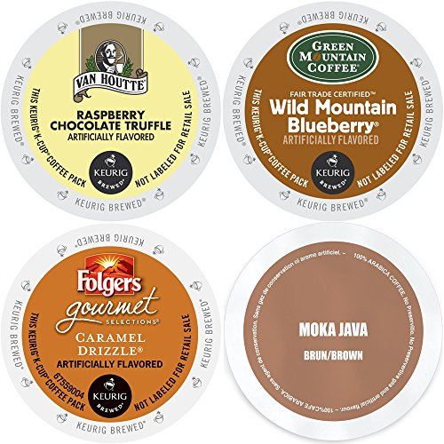 Flavored K-Cup Variety Pack, Coffee Sampler with Green Mountain Wild Mountain Blueberry, Faro Mocha Java, Van Houtte Raspberry Chocolate Truffle & Folgers Caramel Drizzle, Keurig 2.0 K-Cups (96 Count) - Mocha Truffle