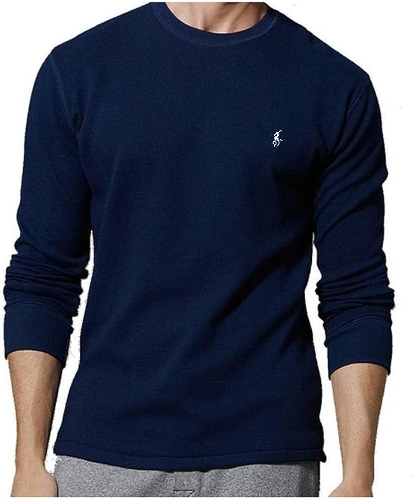 Ralph Lauren Polo Men's Long-Sleeved T-Shirt/Sleepwear/Thermal (Medium, Cruise Navy/White Pony)