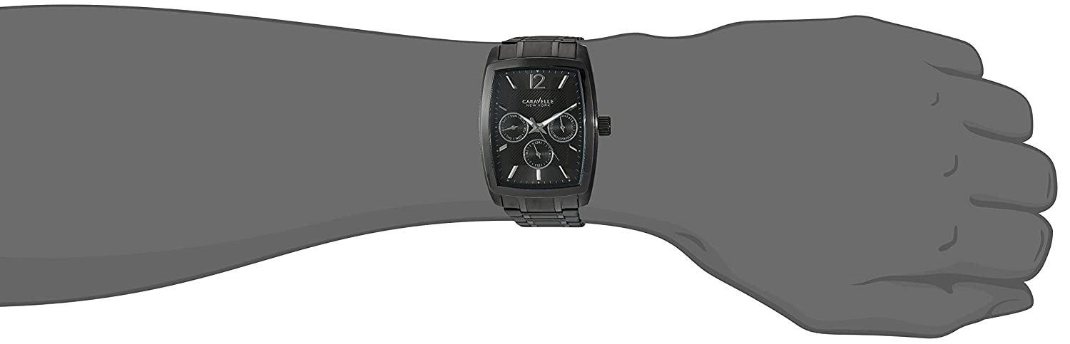 Amazon.com: Caravelle New York Mens Analog-Quartz Watch with Stainless-Steel Strap, Black, 22 (Model: 45C111: Caravelle: Watches