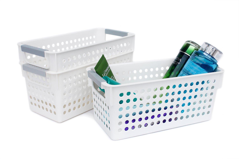 Honla Slim White Plastic Storage Baskets/Bins Organizer with Gray Handles,Set of 3