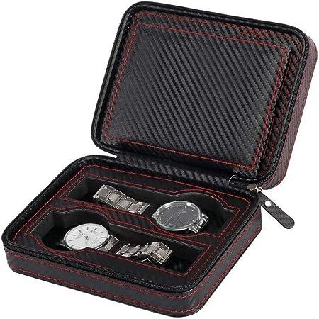 Caja de Relojes de Viaje Estuche-Reloj Almacenamiento Organizador colección-Top Grado Fibra de Carbono PU Cuero (4-Slot).: Amazon.es: Hogar