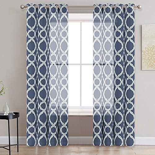 (KGORGE Quatrefoil Print Sheer Curtains for Home Decor, Sunlight Filtering Light & Airy, Privacy Vintage Sheer Voile Drapes for Patio Door/Cottage Garden, 52 x 84 inches Long, Navy Blue, Set of 2)