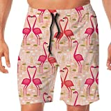 Men's Beachwear Flamingo Couples Summer Surf Board Shorts Home Shorts Cargo Swim Trunks with Pockets XX-Large