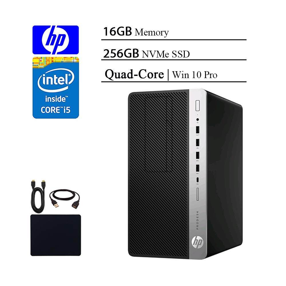HP ProDesk 600 G3 2019 Flagship Micro Desktop Business Tower PC, Intel Core i5-7500T Quad-Core 2.7GHz, Up to 3.3 GHz, 16GB RAM, 256GB NVMe SSD, USB-C, DisplayPort, Windows 10 Pro w/HESVAP Accessories