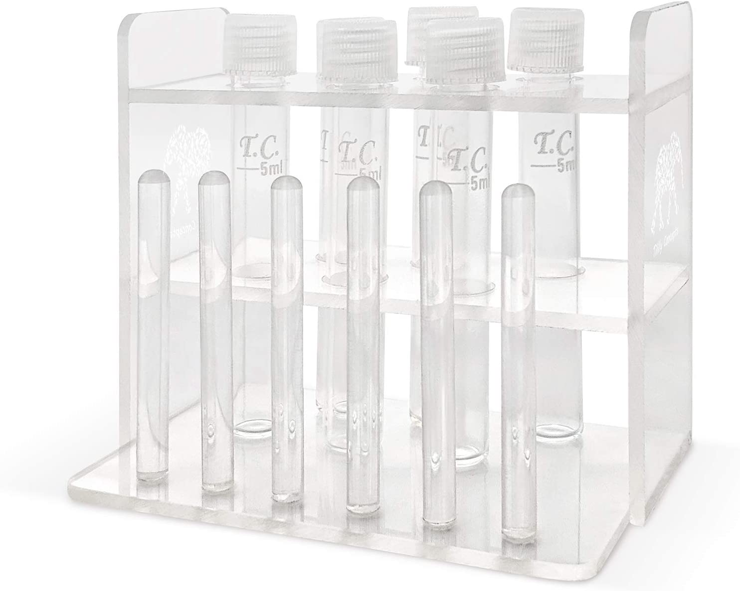 Tililly Concepts Aquarium Rack and Test Tube Set 1 Handmade Acrylic Rack with Drying Poles Bundled with 6 Glass Test Tubes with 5 ml Mark and Leak-Proof Screw Cap