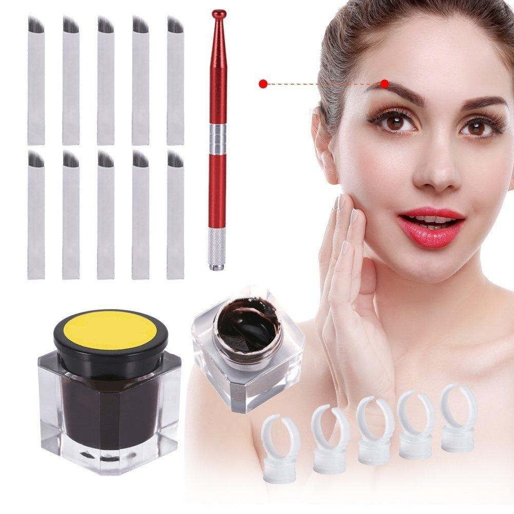 Maquillaje permanente agujas de tatuaje de cejas 3D pasadores Pigmento Set, Ceja Tatuaje Pluma + tatuaje pigmento + Anillos + 12 pines agujas ZJchao