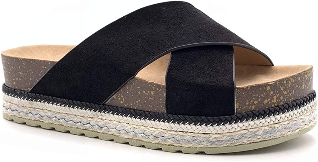 Angkorly Chaussure Mode Mule Tong Claquette Plateforme Ouverte Femme lani/ères crois/ées li/ège Corde Talon Plat