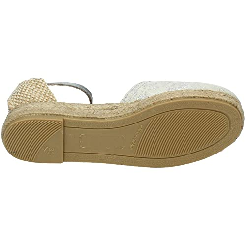 MADE IN SPAIN ALE-345 Espadrilles Carlota NIÑA Zapato COMUNIÓN Plata 39: Amazon.es: Zapatos y complementos
