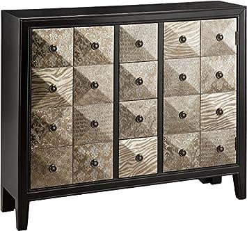 stein world furniture swank accent chest metallic black pewter
