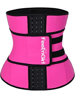 3439a23e2a96b FeelinGirl Women s Latex Underbust Corset Waist Training Trainer Sport  Girdle