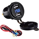 LaoDa Dual USB Charger Socket Waterproof Power Outlet 2.1A & 2.1A with Voltmeter & Wire In-line 10A Fuse for 12-24V Car Boat Marine Motorcycle
