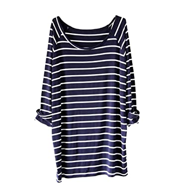 AvaCostume Women's White Black Striped Round Neck Long Sleeve ...
