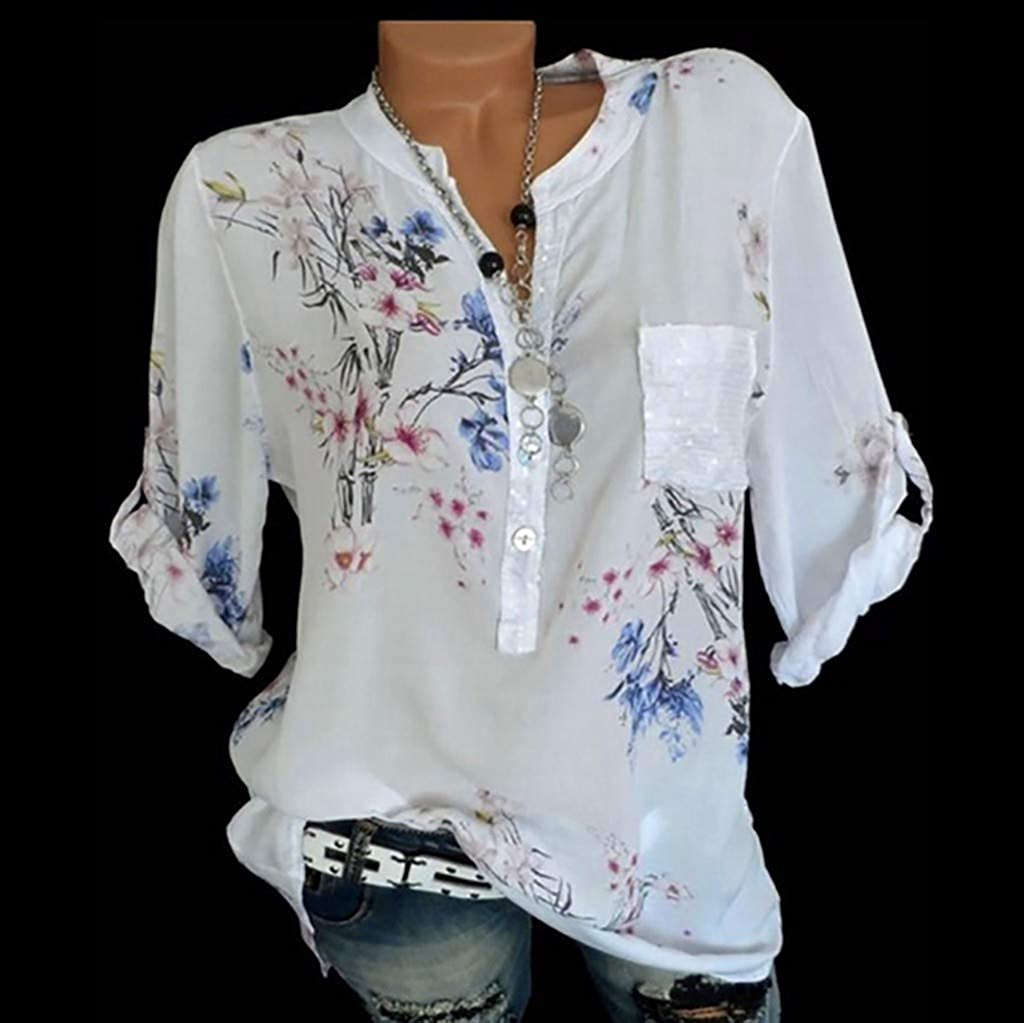 Cardigo Plus Size Womens Loose Floral Print V-Neck Blouse Pullover Tops Shirt