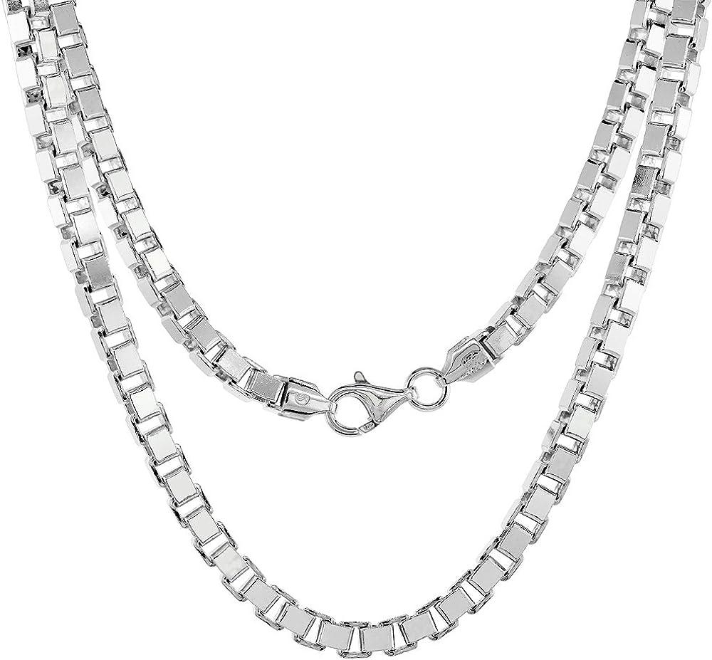 Sterling Ultra-Cheap Deals Nippon regular agency Silver Heavy BOX Chain Men Bracelets Women Mirror for