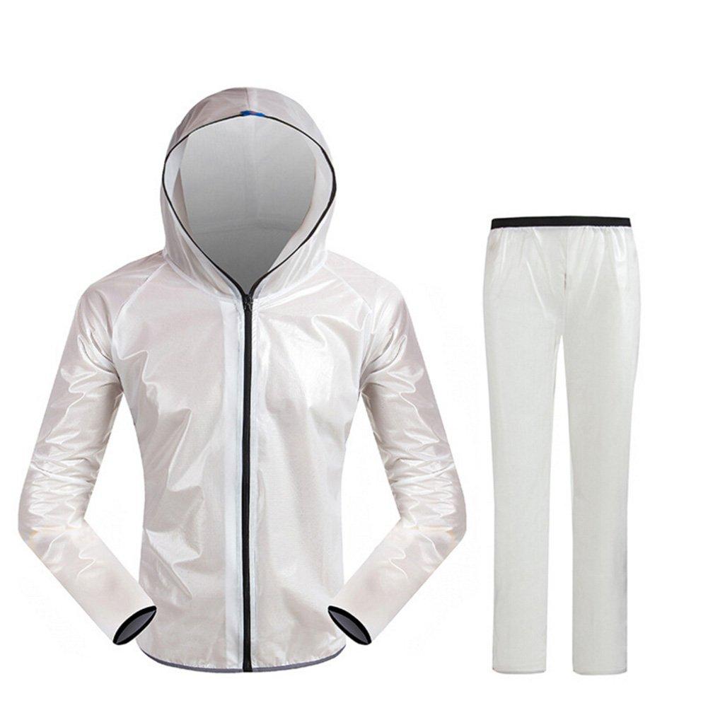 Cycling Rain Jacket Waterproof Women and Men's Hooded Jacket and Pants Rain Coat Windproof Jacket Suit (White, M)