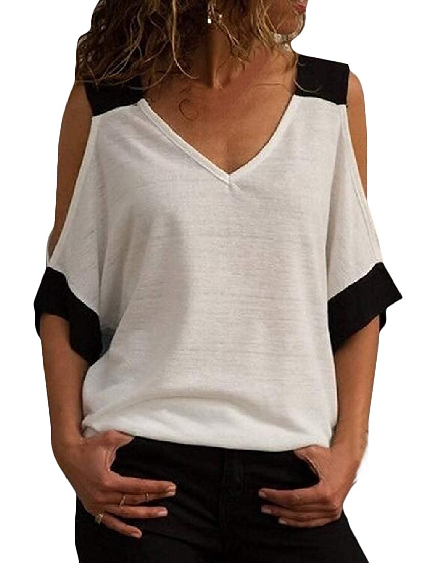 Joe Wenko Womens Half Sleeve Plus Size Backless Contrast Color V Neck Cold Shoulder Top Blouse T-Shirts