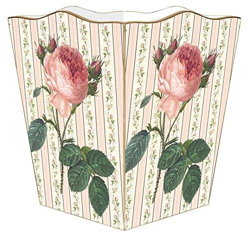 WB808-Pink Rose on Floral Stripe Wastepaper Basket