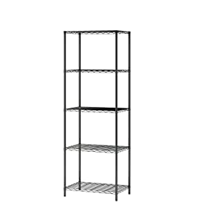 "MULSH 5-Tier Wire Shelving Metal Wire Shelf Storage Rack Durable Organizer Unit Perfect for Kitchen Garage Pantry Organization in Black, 21"" Wx14 Dx62 H"