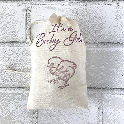 Country Chick - Its a Baby Girl Baby Shower Favor Bag Chick Muslin Bag Party Favor Gift Bag Farm Rustic Country Nursery Rhyme Thank You Jewelry Soap
