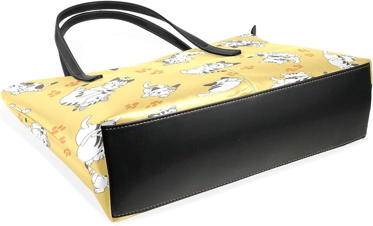Cartoon Cat Footprint Leather Handbags Purses Shoulder Tote Bags Satchel Womens